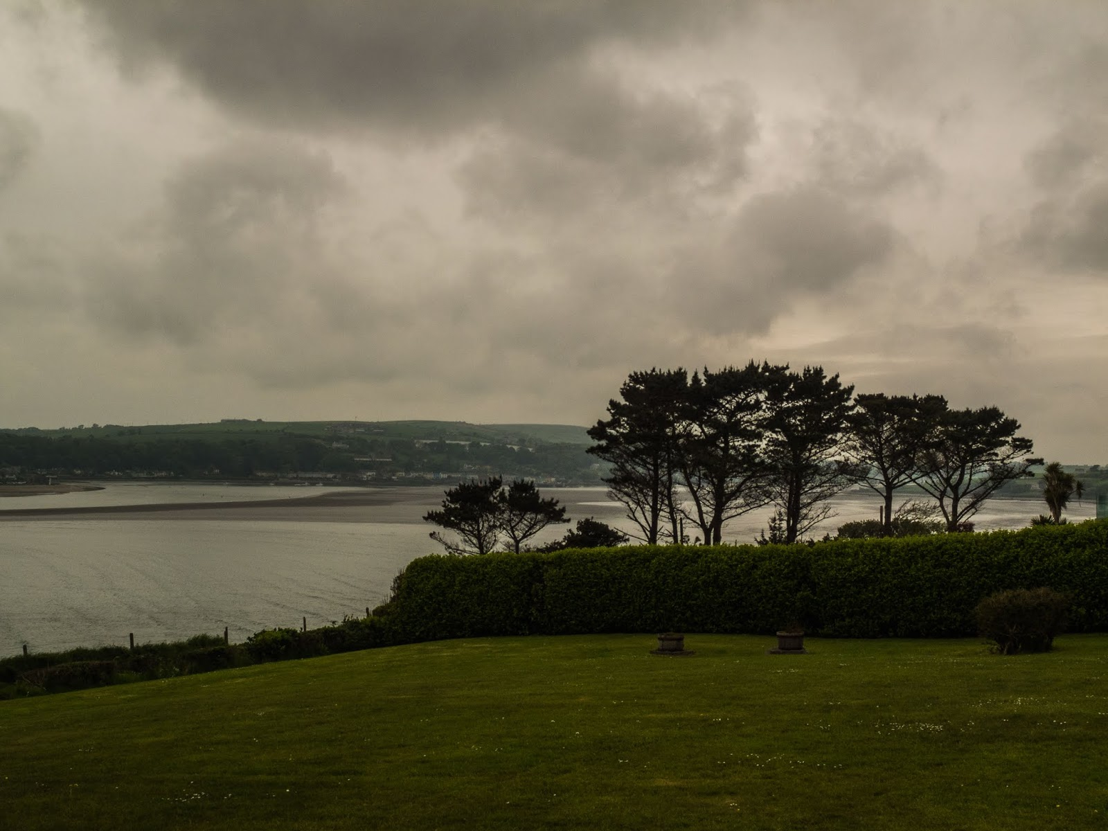 Looking to Courtmacsherry from Kilbrittain Co.Cork on a gloomy, grey day.