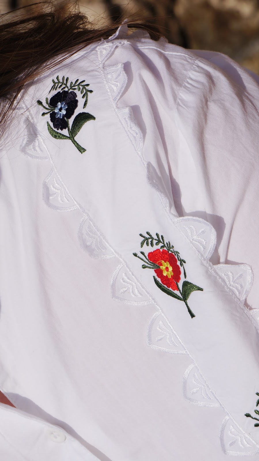 Topshop shirt with embroidered flowers