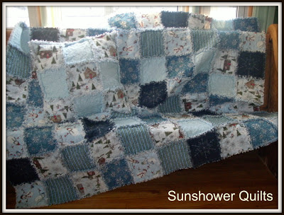 Sunshower Quilts Blue Snowman Rag Quilt
