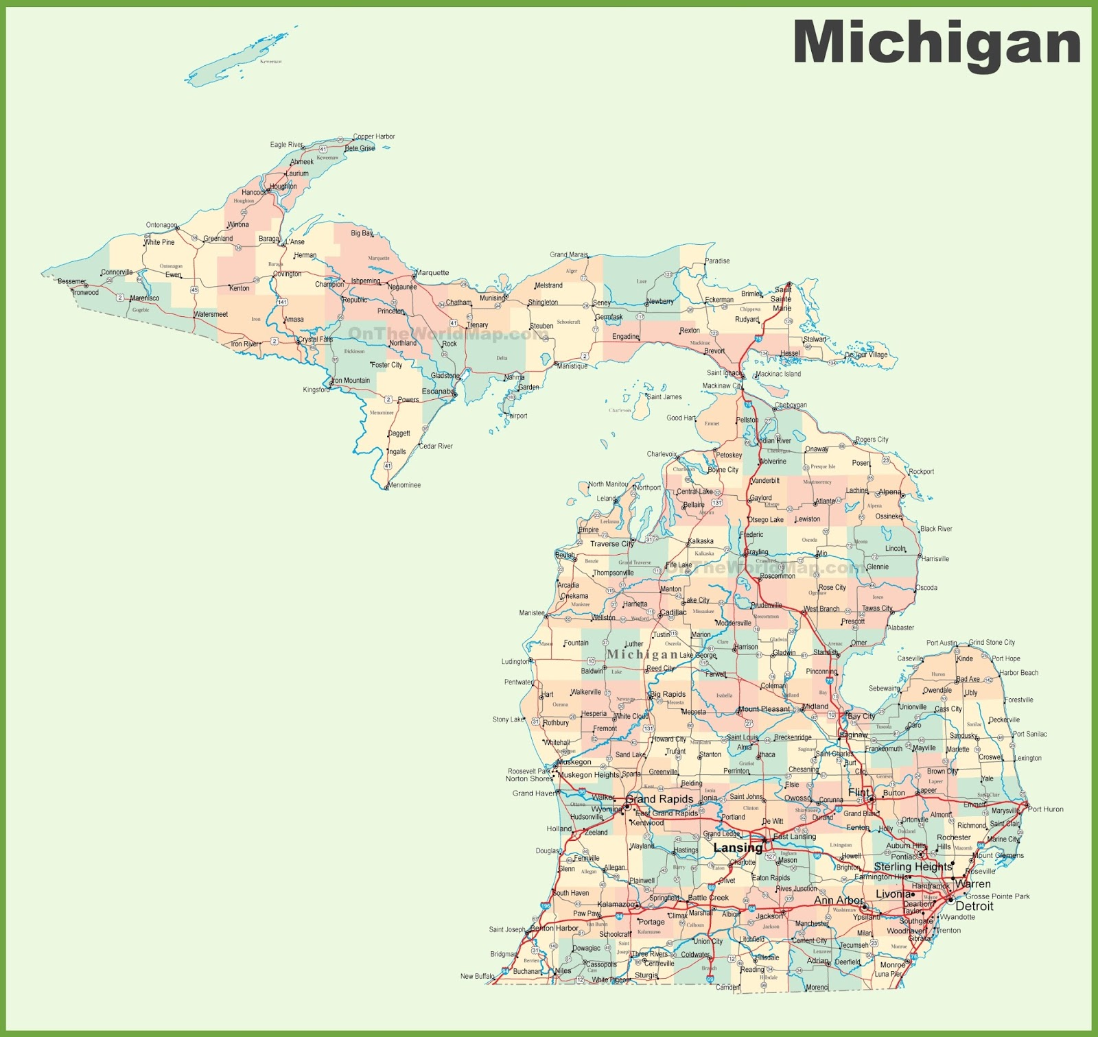 This Michigan Map Will Show You The Location Of All Cities In Michigan State Of The Usa