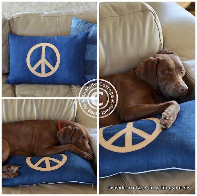 Kissen nähen aus Jeans mit Applikation aus Snappap, Peace-Symbol, DIY