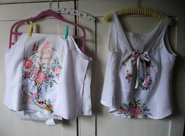 vintage embroidered linens camisole tops by karen vallerius