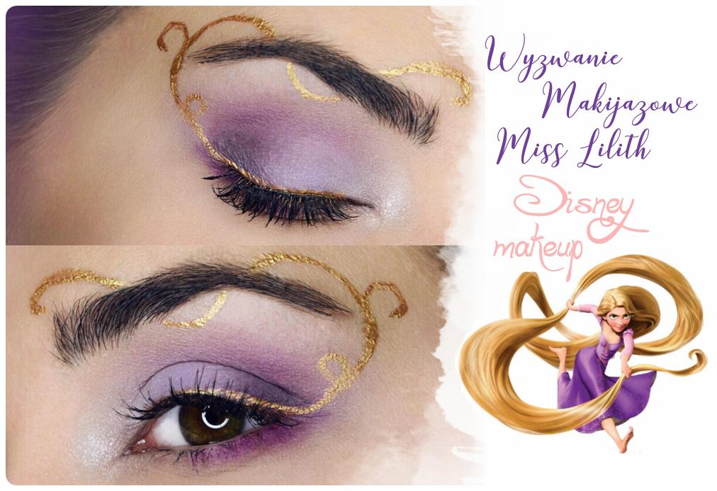 fioletowy makijaż tangled