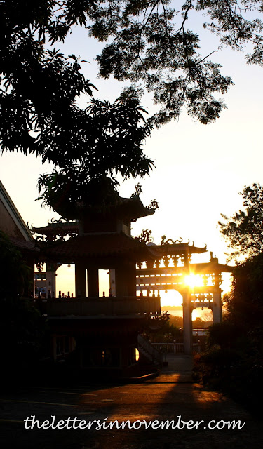 tiers of macho temple at sunset