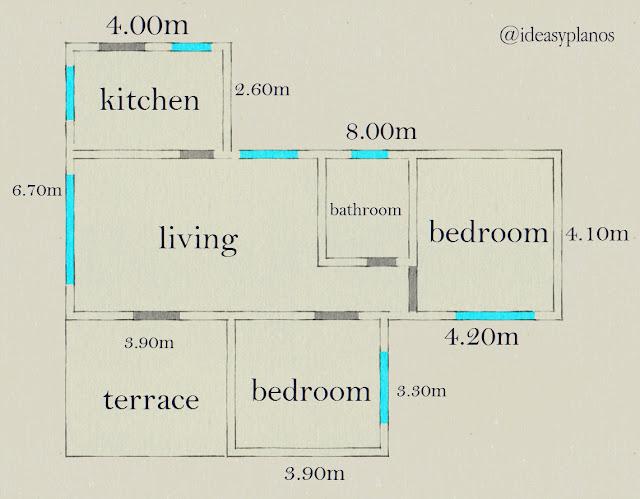 plano de casa con dos habitaciones 72 m2.