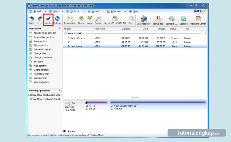 Cara Menambah dan Mengurangi Ukuran Partisi Hardisk Komputer, cara memperbesar ukuran partisi, cara menambah partisi C, cara menambah ukuran Disk C, cara menambah partisi system windows, cara merubah partisi windows tanpa kehilangan data, cara merubah ukuran partisi hardisk anpa install ulang, tutorialengkap.com