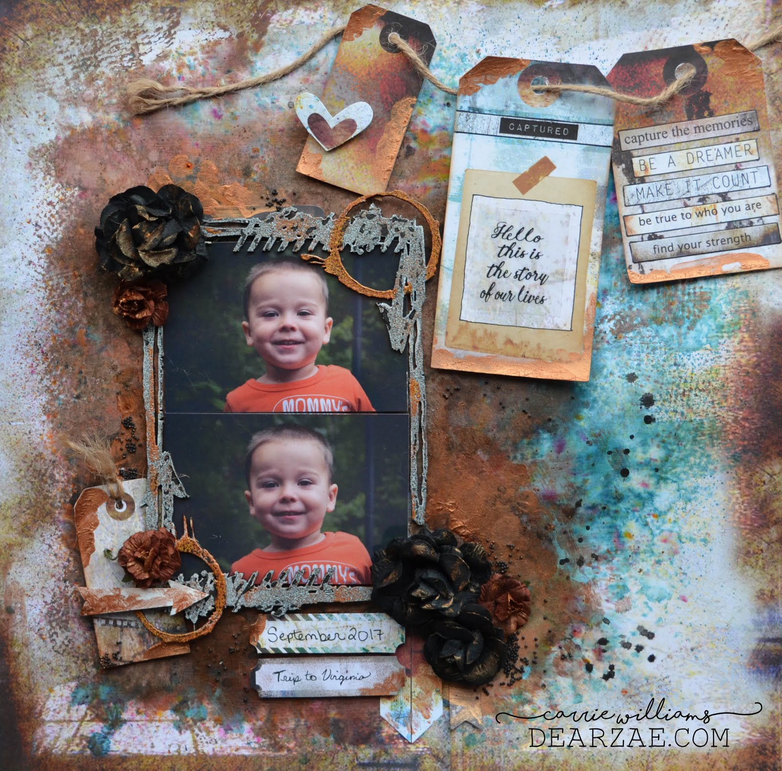 Grungy industrial mixed media layout in copper and turquoise with tag banner, die cuts, stickers, chipboard frame, copper crackle paste, jute, microbeads, and flowers