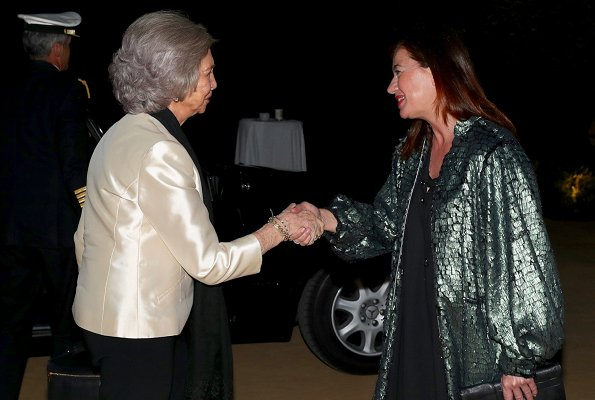 Emeritus Queen Sofia and Spanish Minister of Industry, Trade and Tourism Maria Reyes Maroto attended a gala at Son Termes Bunyola