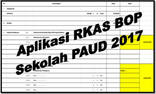 Aplikasi RKAS BOP Sekolah PAUD 2017