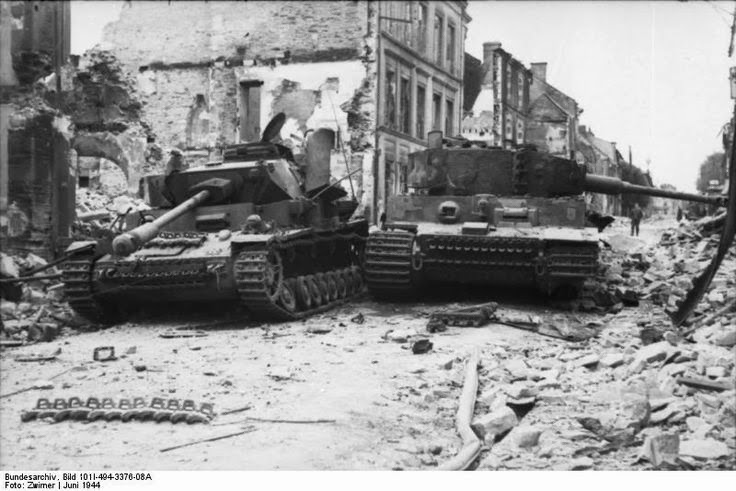 abandoned knocked out tigers villers bocage france 1944 when defending cities late in the war the tactic was to place available tanks at