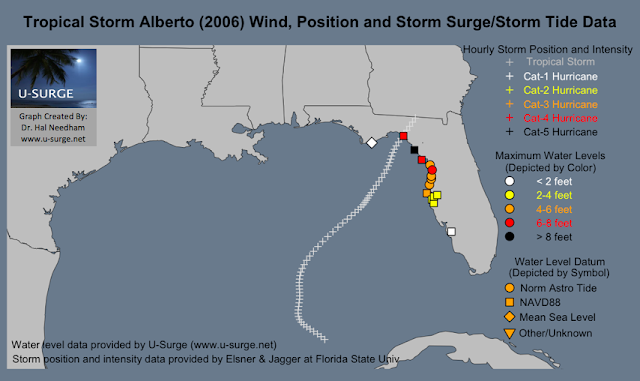 A Map Of Tropical Storm Alberto S Storm Track And Maximum Coastal Flooding Levels