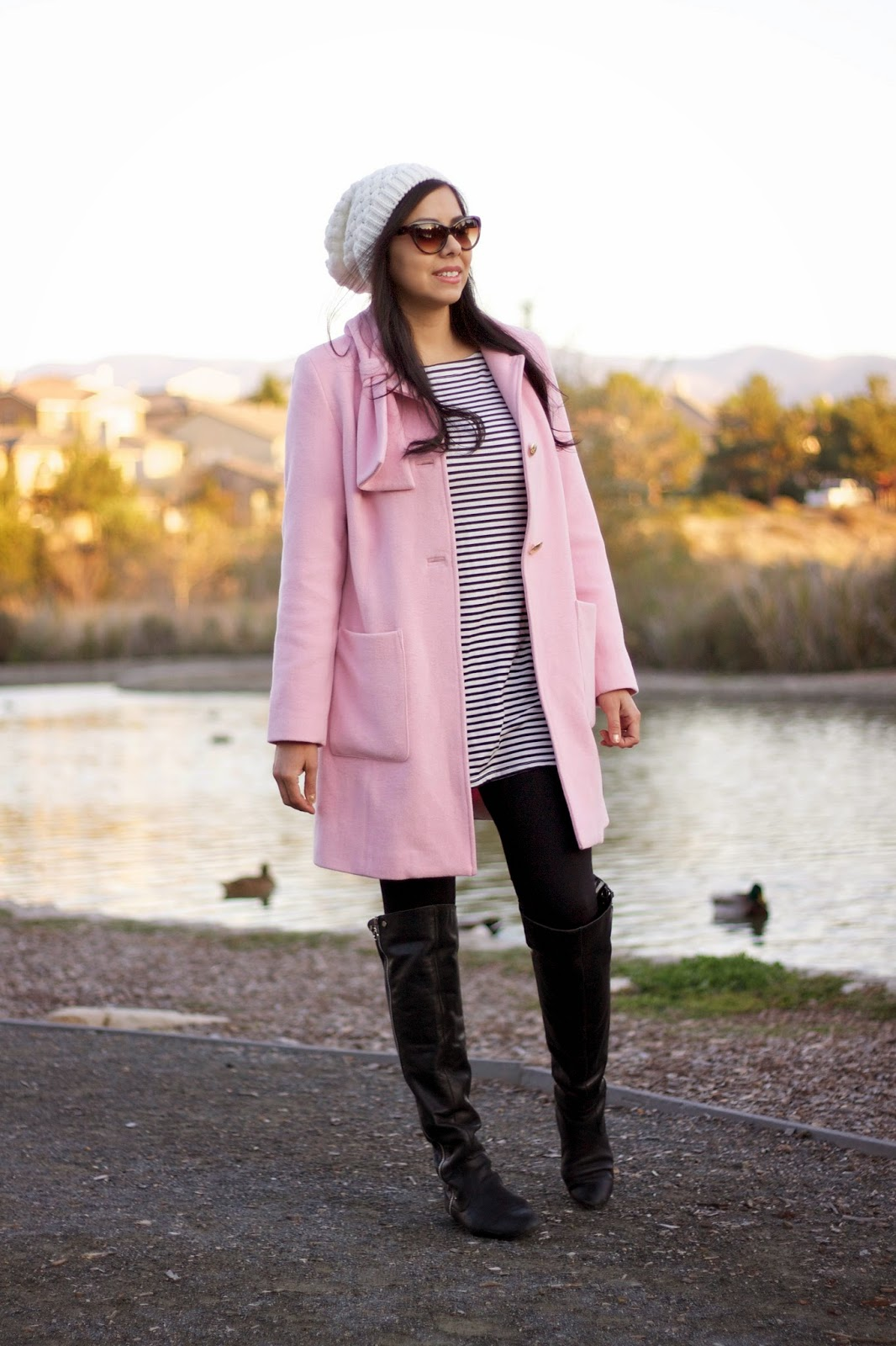 CAbi Clothing, CAbi blogger, CAbi tuscadero, CAbi pink coat, how to wear a pink coat, pink trench coat, how to wear stripes, shop kika striped tunic, kika paprika, kika paprika leggings