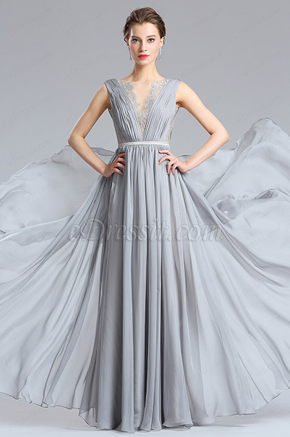 Pretty Grey Long Fashion Designer Dress