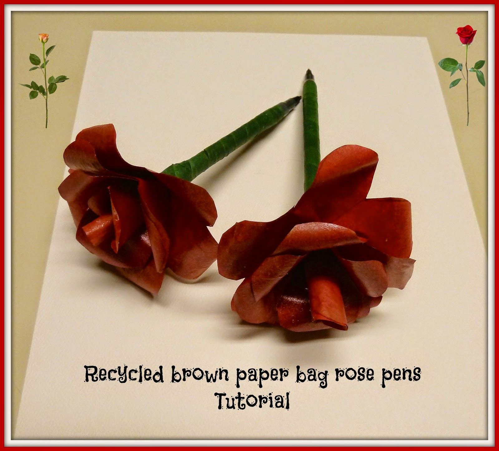 recycled brown bag rose pens