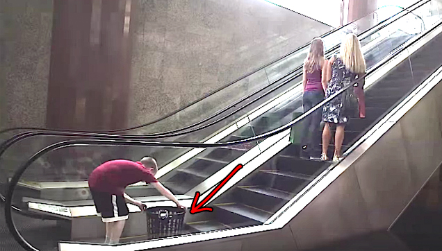 Basket on Escalator Football Trick Shoot