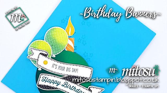 Stampin' Up! Birthday Banners SU Card Idea order craft supplies from Mitosu Crafts Online Shop