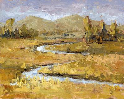 art painting oil landscape autumn marsh Ogden Valley Utah