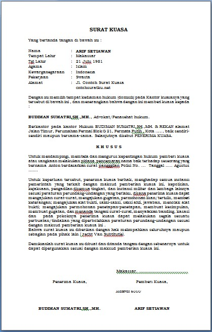 Download Contoh Surat Kuasa Hukum Terbaru Forma MS Waord