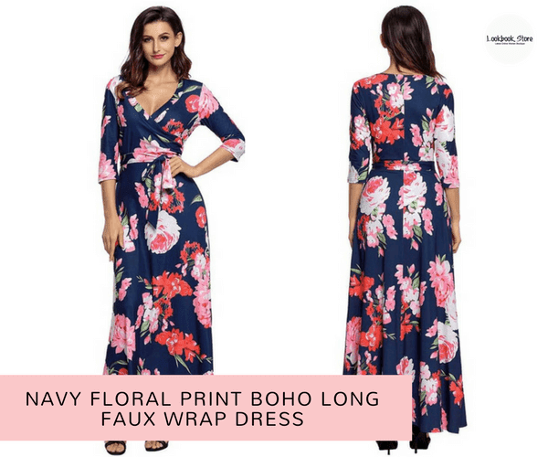 Navy Floral Print Boho Long Faux Wrap Dress | Lookbook Store