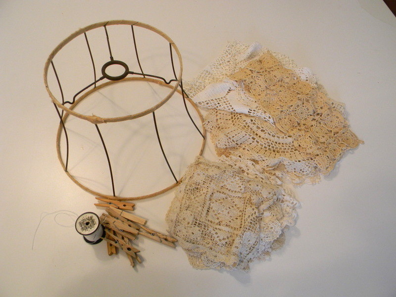 Vintage Lace Doily Lamp Shade