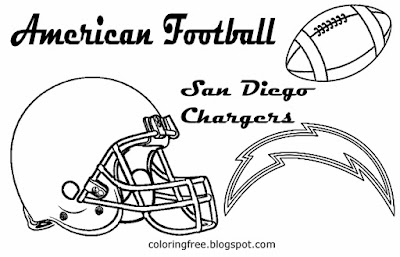 San Diego Chargers printable American team football free coloring pages for boys USA sport games