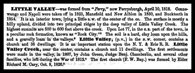 """Little Valley was formed from ""Perry,"" now Perrysburgh, April 10,1818...[The village] contains a church and 36 dwellings. It is an important stationupon the N.Y. & Erie R.R....."