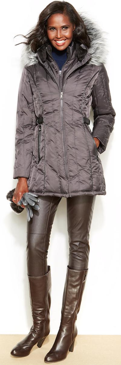 Nautica Puffer Coat with faux fur trim hood