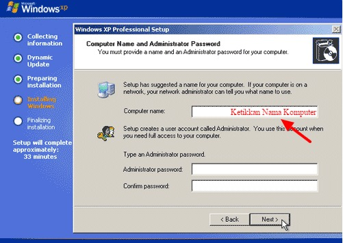 penamaan komputer saat instal ulang windows xp