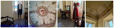 Particolari degli affreschi originali con abiti originali nel Piano Nobile