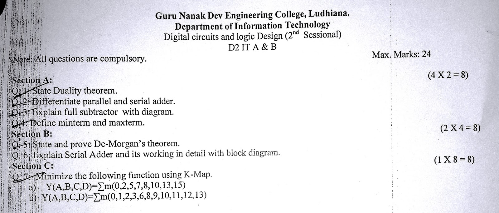 Digital Circuits And Logic Design A Virus Circuit 2016 2nd Mst Question Papers