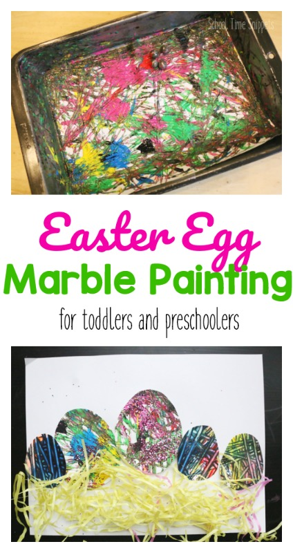 Marble Painting For Kids using a literal marble