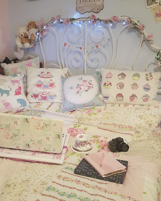 Floral vintage bedroom and laptop