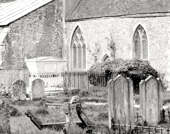 Photograph of Close up of the ivy-covered Booth tomb at St Mary's Church - photograph taken in the 1900s Image from G Nott, part of the Images of North Mymms Collection