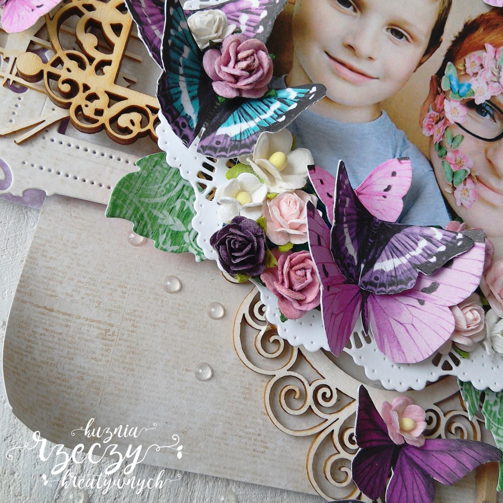 Warstwowa kompozycja na plastrze drewna w fioletowo-zielonej kolorystce.