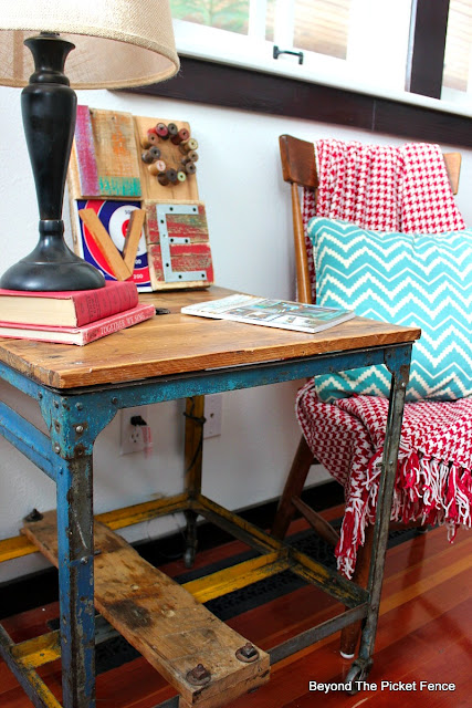 industrial, side table, metal wheels, habitat for humanity, salvaged, rustic decor, love sign, assembled, reclaimed,http://bec4-beyondthepicketfence.blogspot.com/2016/01/love-in-bits-pieces.html