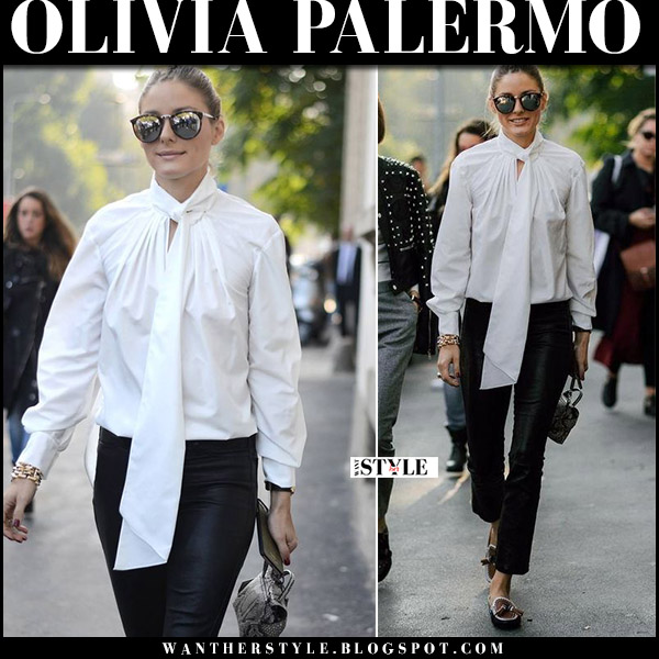 Olivia Palermo in white tie-neck blouse, black leather paige carine pants and tods moccasins at Milan Fashion Week street style fashion week 2017