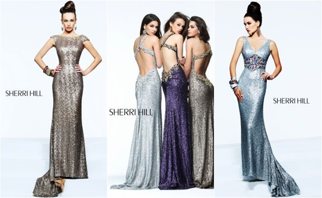 Sherri Hill long metallic dresses