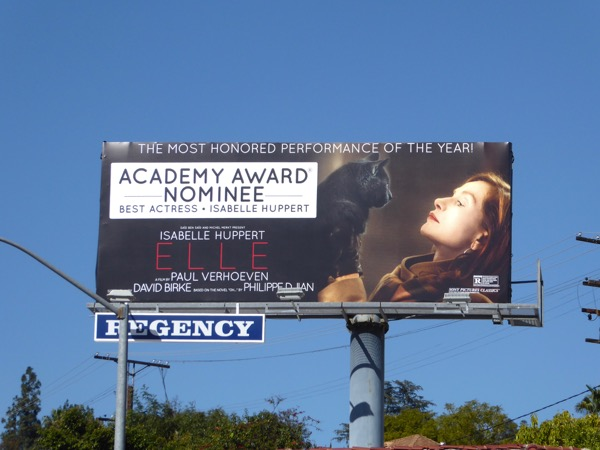 Isabelle Huppert Elle Academy Award nominee billboard