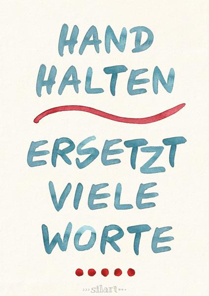 Hand halten ersetzt viel Worte, handlettering