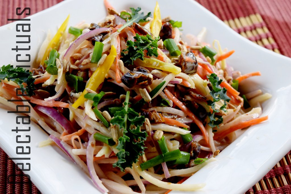 Kohlrabi Daikon Slaw with Bits of Dates and Sunflower Seeds