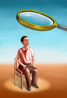 Illustration of a suspect under a magnifying glass.