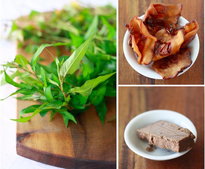 vietnamese mint or laksa leaves, tamarind peel, belacan