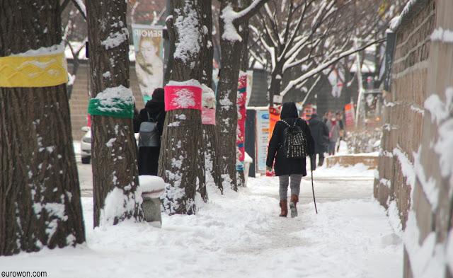 Caminando sobre la nieve en Seúl