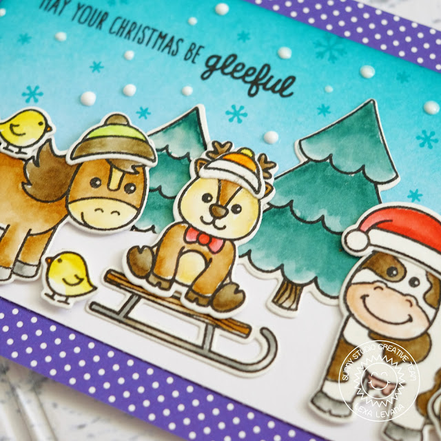 Sunny Studio Stamps: Barnyard Buddies Christmas Farm Animals On The Farm Card by Lexa Levana
