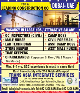 Construction company jobs for Indians in Dubai UAE