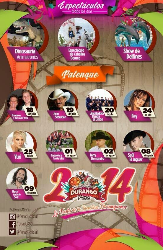 Artistas en Palenque Feria Durango 2014