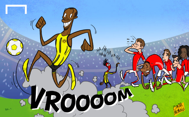 Bolt joins Dortmund Cartoon