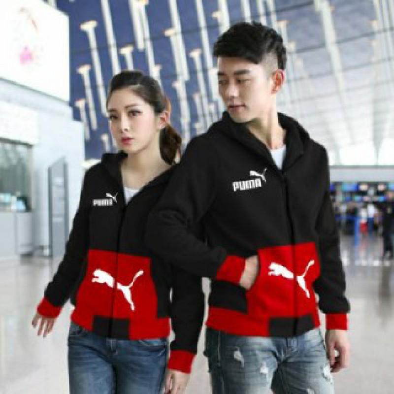 Jual Online Jacket Couple Puma Pocket Merah Jakarta Bahan Babytery Terbaru