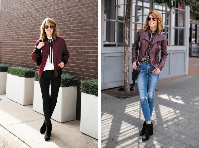 Блузка с бантом с джинсами и бомбером и кожаной курткой