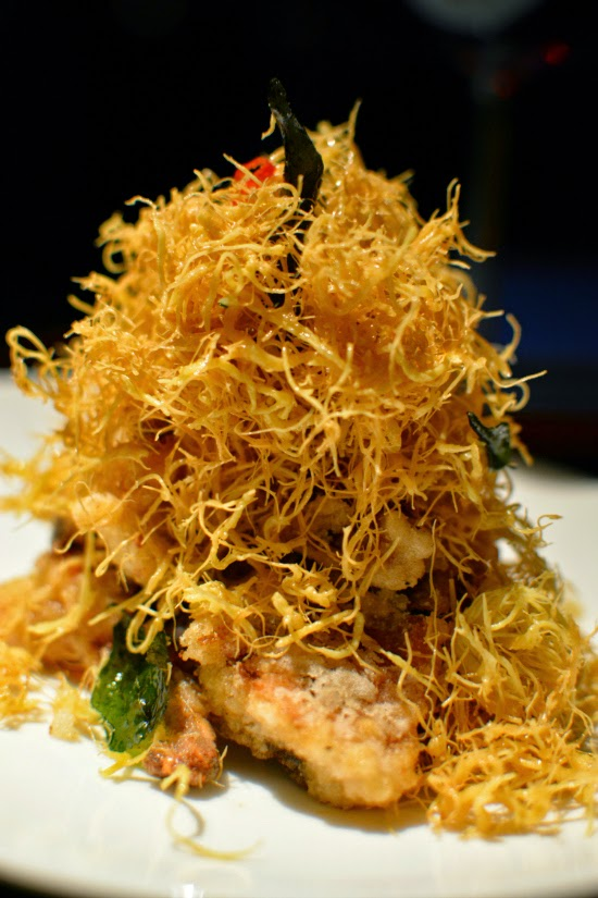 Hakkasan soft shell crab with egg yolk